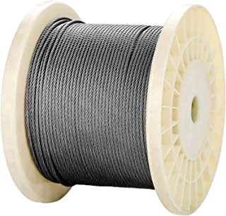 Senmit 1/8 Stainless Steel Aircraft Wire Rope for Deck Cable Railing Kit,7 x 7 500 Feet T 316 Marine Grade