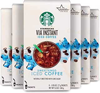 Starbucks VIA Instant Coffee Medium Roast Packets — Sweetened Iced Coffee — 6 boxes (36 packets total)
