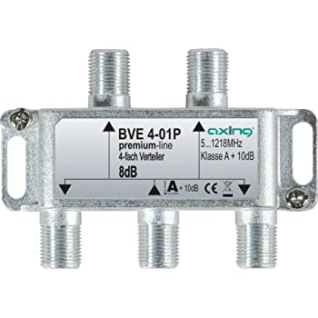 Axing BVE 4-01PDistributore 4 uscite partitore TV via cavo CATV Multimedia DVB-T25-1218MHz metallo