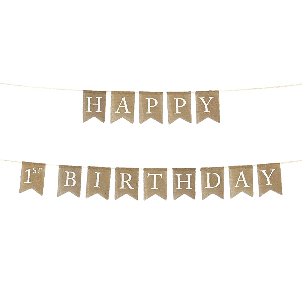 Andaz Press Real Burlap Fabric Pennant Hanging Banner with, Happy 1st Birthday, Pre-Strung, No Assembly Required, 1-Set