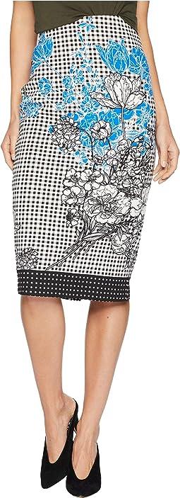 Floral Midi Pencil Scuba Skirt
