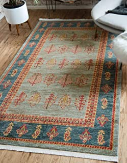 Unique Loom Fars Collection Tribal Modern Casual Light Blue Area Rug (5' 0 x 8' 0)