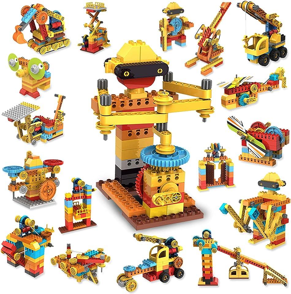 STEM Spielzeug Konstruktionsspielzeug,218 Stück Bausteine, Kompatibel mit Markenbausteinen,Pädagogische Lernspielzeug Ingenieurblöcke, Spielzeug Bauen für Kinder Jungen & Mädchen ab 3 4 5 6+ Jahre