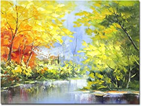 Muzagroo Art Landscape Oil Paintings Tree Picture (Yellow, 24x32in(60x80cm))