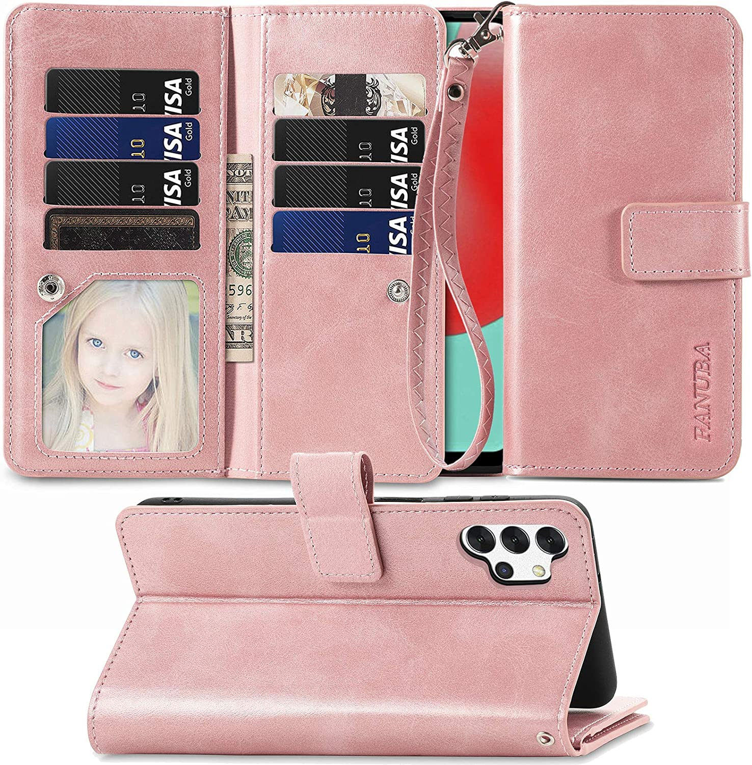 FANUBA for Galaxy A32 5G Wallet Phone Case,Soft PU Leather Magnetic Buttons Wrist Strap Card Holders Shockproof Kickstand Protective [Flip Folio Cover] for Samsung Galaxy A32 5G - Rose Gold