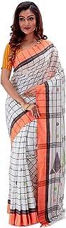 SareesofBengal Women's Khadi Cotton Jamdani Dhakai Saree Checkered Tangail Tant Handloom Off-white