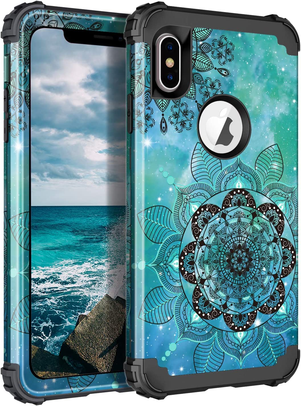 LONTECT Compatible iPhone Xs Max Case Floral 3 in 1 Heavy Duty Hybrid Sturdy High Impact Shockproof Protective Cover Case for Apple iPhone Xs Max 6.5 Display, Mandala in Galaxy/Black