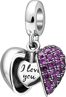SOUKISS I Love You Charm 925 Sterling Silver Love Heart Dangle Bead Charms for Pandora Charms Bracelet Necklace (Heart)