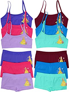 ToBeInStyle Girl's Pack of 6 Set of Spaghetti Strap Bras and Boyshorts or Bikinis