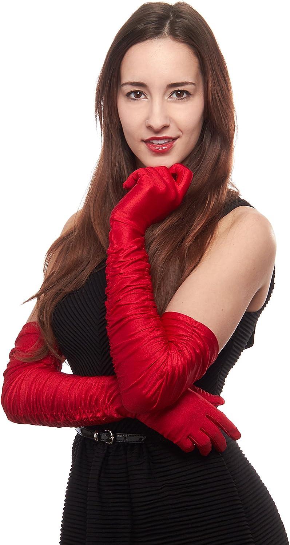 Disco Fever Shirred Stretch Satin Opera Length Gloves