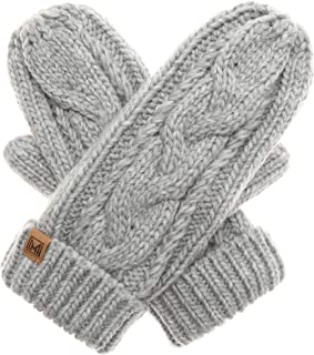 MIRMARU Women's Warm Winter Gloves Cozy Soft Cable Knit Mittens with Fleece Lining