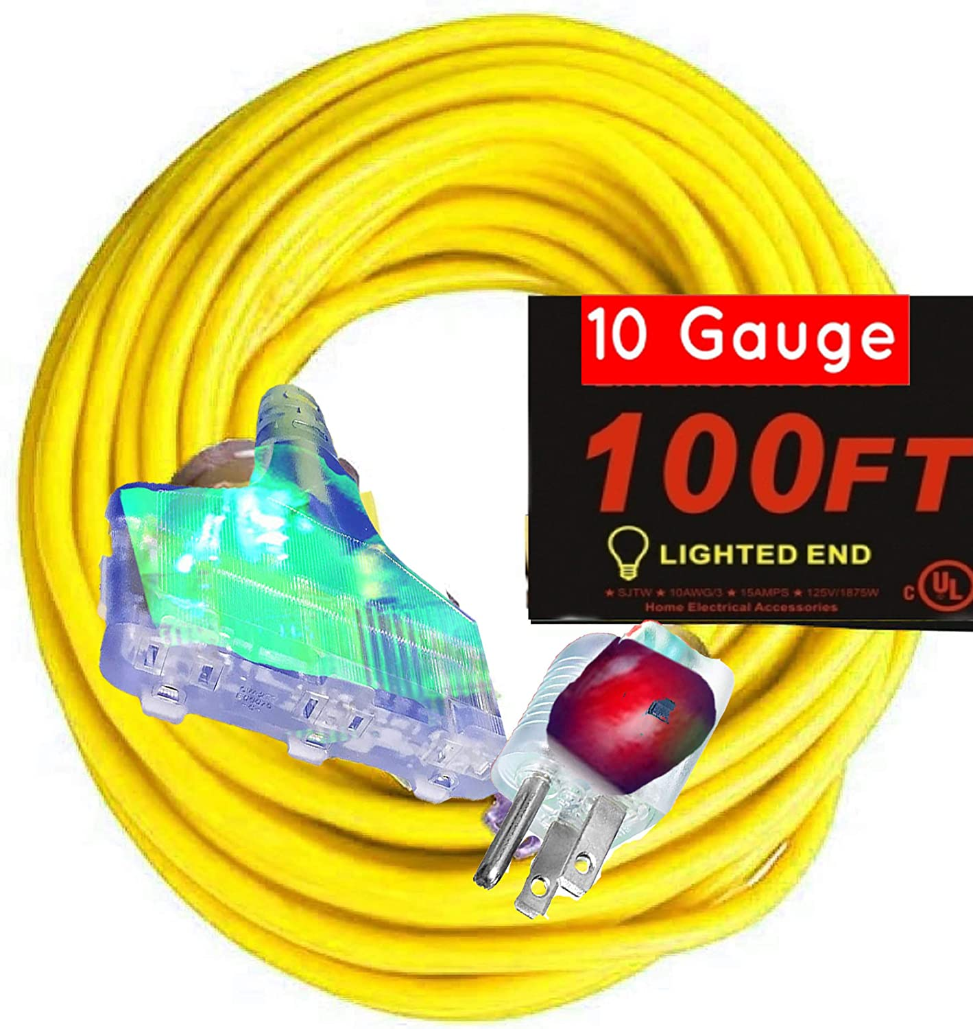 100 Max 40% OFF ft 10 Gauge Heavy Year-end annual account Duty Ou Indoor SJTW Lighted Triple Outdoor