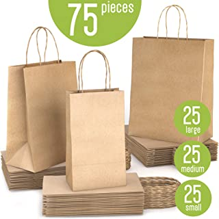 WDC Industries Brown Paper Bags with Handles Bulk, 75 Craft Bags, 25 Each Size (Large, Medium & Small). Plain Kraft Paper Bag Great for Shopping, Gift Bags, to go, Lunch or just Extra paperbags Handle