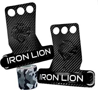 Iron Lion 3-Hole Carbon Fiber Hand Grips for Cross Training, Weight Lifting, Chin ups, Pull ups, Muscle Ups, Toes to Bar, Gymnastics, Kettlebells, Rings, and More - with Bonus Grip Tape