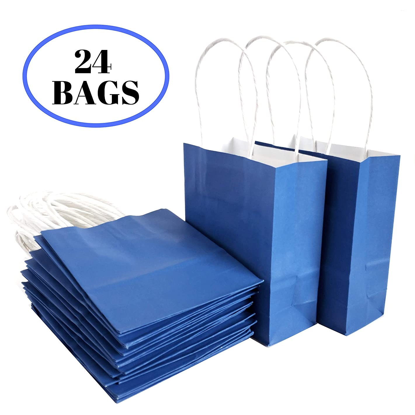 """Kelkaa Party Kraft Paper Bags – 24pcs 4.5X2.5X5.5"""" Gift Bags with Handles for Birthday, Wedding Party Favors, Bachelorette Party, Paper Tote Bags, Party Themes - Mini Royal Blue"""