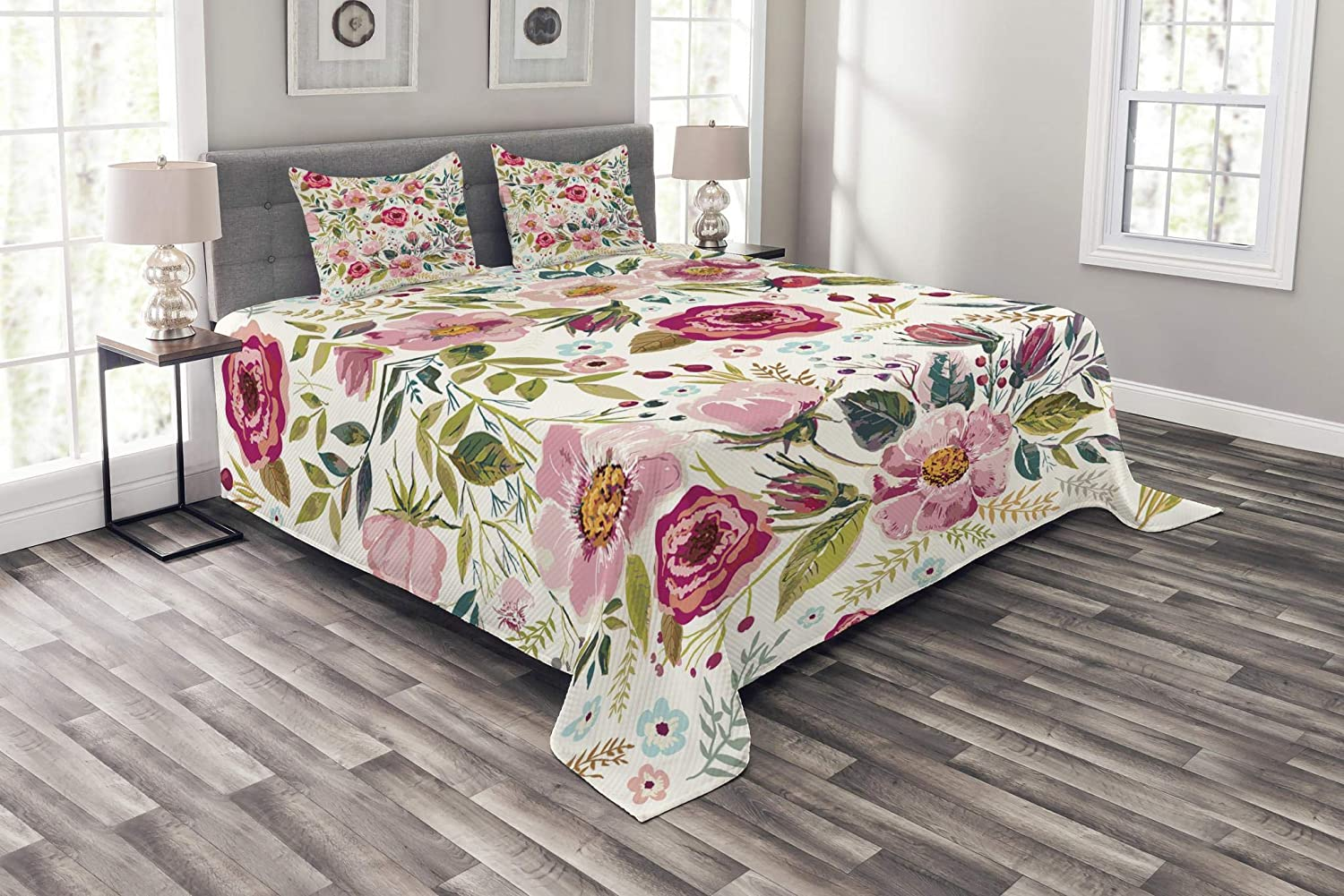 Lunarable Floral Bedspread, Shabby Form Flowers Roses Petals Dots Leaves Buds Spring Season Theme Image Artwork, Decorative Quilted 3 Piece Coverlet Set with 2 Pillow Shams, King Size, Magenta