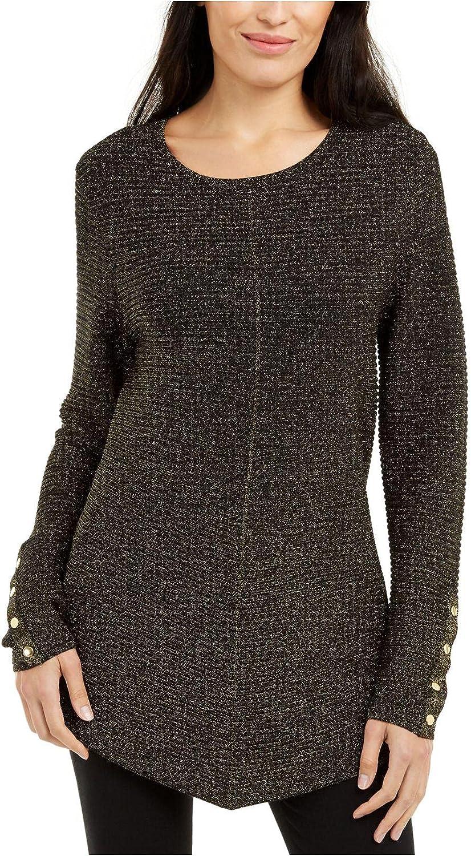 Alfani Womens Metallic Swing Sweater Black/Gold