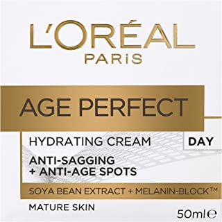 L'Oréal Paris Age Perfect Hydrating Day Moisturiser for Mature Skin Moistuiser, with Soya Bean Extract and Melanin Block, ...