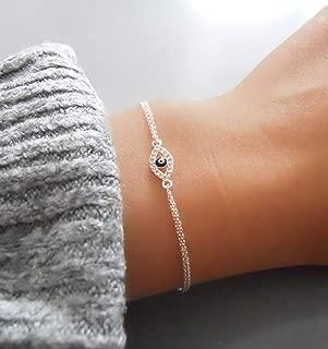 Handmade Dainty Silver Cubic Zirconia Tiny Evil Eye Bracelet