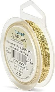 Artistic Wire, 20 Gauge, Twisted Round Tarnish Resistant Brass, 8 yd (7.3 m) Craft Wire