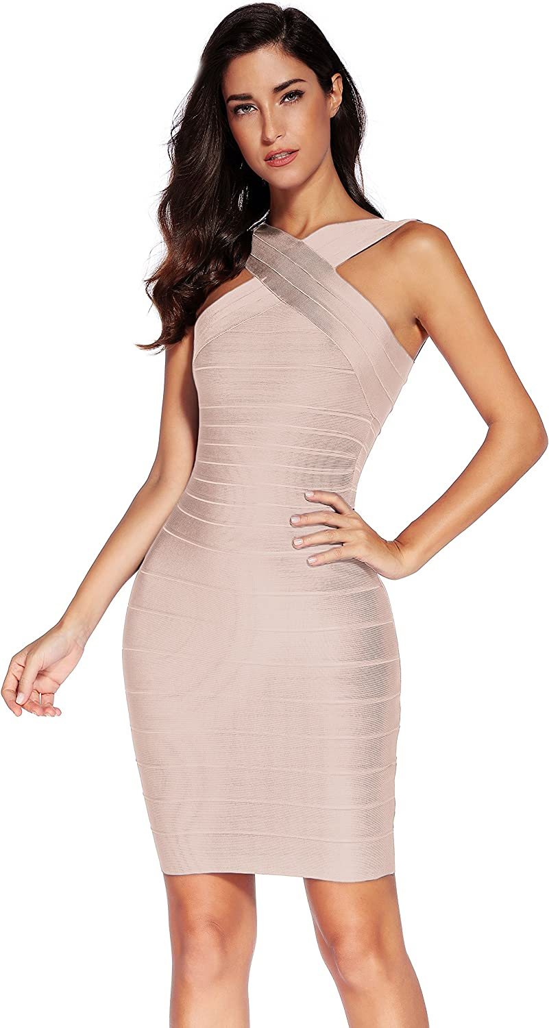 meilun Women's Rayon Front Cross Cocktail Bandage Bodycon Dress