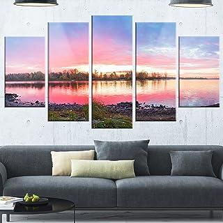 Designart Beautiful Fall Sunrise Over River - Landscape Glossy Metal Wall Art, 32'' Hx60'' Wx1'' D 5PD, Blue
