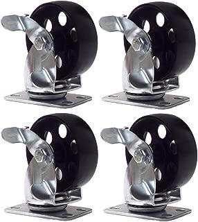 Online Best Service 4 Large All Steel Swivel Plate Caster W Brake Lock Heavy Duty 3.5