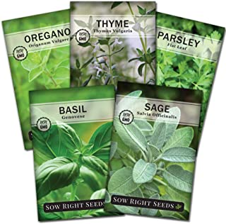 Sow Right Seeds - Italian Herb Garden Seed Collection - Individual Packets of Basil, Oregano, Parsley, Sage, and Thyme to ...