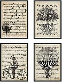 Nacnic Set 4 posters avec partitions de musique. Décoration murale de style vintage avec motifs de la nature. Affiches mag...