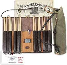 Walker & Williams DSB-2 Leather Drum Stick Bag with Heavy Canvas Carrying Bag