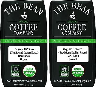 The Bean Coffee Company Organic Il Chicco (Traditional Italian Roast), Dark Roast, Ground, 16-Ounce Bags (Pack of 2)