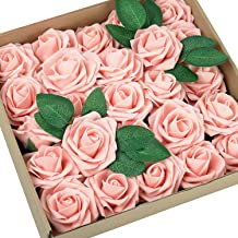 Greenco Set of 25 Artificial Roses in Stem Realistic Looking Faux Flowers Box for Weddings, Parties, Floral Arrangements, ...