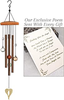 On Angel's Wings Sympathy Gift Wind Chime to Send for Funeral Or Memorial When Someone Loses A Loved One
