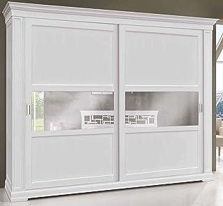 Armoire à 2 portes coulissantes, bois laqué blanc, style classique (cm. L.290 H.250 P.67) (TVG)