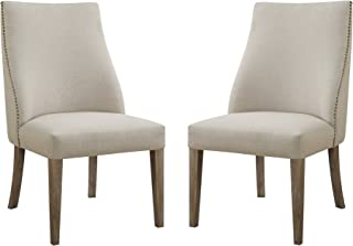 Emerald Home Barcelona Rustic Pine and Beige Upholstered Dining Chair with Curved Back And Nailhead Trim, Set of Two