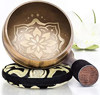 Tibetan Singing Bowl Set ~ Easy to Play with New Dual-End Striker & Cushion ~ Creates Beautiful Sound for Holistic Healin...