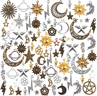 Celestial Charms,100 Gram(About 80-90 Pieces) Mixed Sun Moon Star Charms Antique Alloy Pendants for Jewelry Making and Crafting