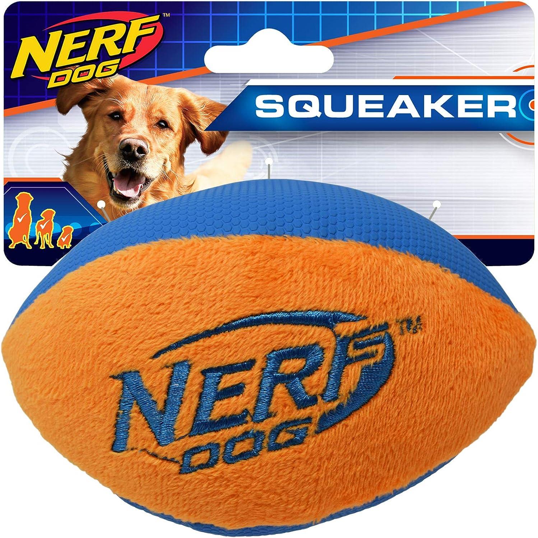 Nerf Dog (2Pack) UltraPlush Trackshot Football Dog Toy, orange bluee & Green bluee, Small