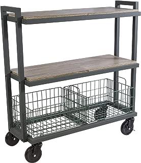 Atlantic System 3 Tier Cart-Wide Mobile Storage Interchange Shelves and Baskets, Powder-Coated Steel Frame PN23350330 in Kale Green