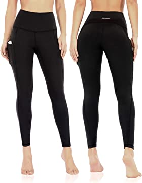 Workout Running Tights Yoga Pants Inseam 25 ODODOS Womens Cross Waist 7//8 Yoga Leggings with Inner Pocket