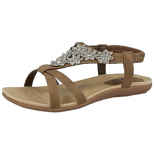 3b3e926216c9 Jo   Joe Ladies Faux Leather Peep Toe Sling Back T-Bar Flower Fashion Flat
