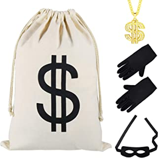Robber Costume Set Include Dollar Sign Bag Black Gloves Eye Mask and Fake Dollar Hip Hop Diamond Necklace for Halloween Party Pirate Cosplay Costume