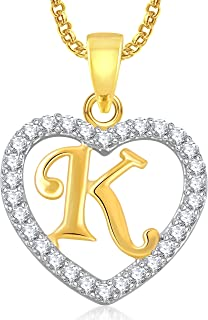 Valentine Gifts MEENAZ Gold Plated 'K' Letter Heart Pendant Locket Alphabet with Chain in AME.