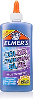 Elmer's Color Changing Liquid Glue, Great for Making Slime, Washable, Blue to Purple, 9 Ounces