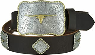 Mens Texas Longhorn Steer Western Cowboy Belt with Matching Conchos and Oil Tanned Leather Strap