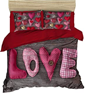 3D Love Bettbezug Set   Double Duvet Cover Set  % 100 Baumwolle   200x220 Double   4er Set Bettwäscheset mit Bettbezug, Laken und Kissenbezug   4 in 1 with Duvet Cover, Sheet and Pillow Covers