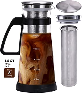 Jalousie JAL-BP01 Airtight Glass Cold Brew Maker with Stainless Steel Filter ic coffee pitcher, 48 oz, Clear