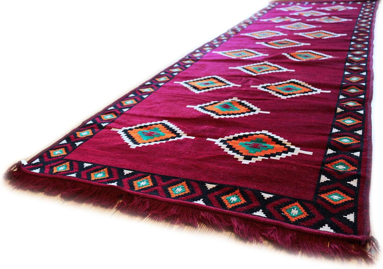 Damaskunst Weinrot,Grün,Beige,Orange,Schwarz,Teppich 90 cm cm cm x 300 cm,Kelim Orient,Wand Teppich,Carpet, Rug, S 1-33-76 B07F5XZJ2G 7bf8ee