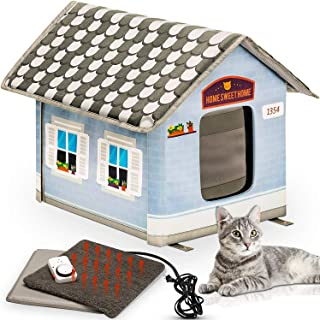 PETYELLA Heated Outdoor Cat House Weatherproof - Easy to Assemble - Feral Cat Shelter Heaven