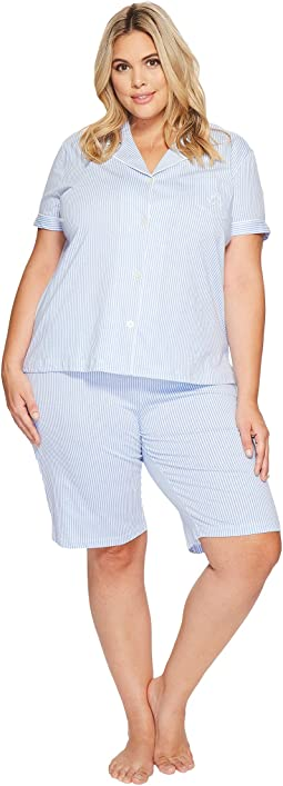 LAUREN Ralph Lauren - Plus Size Short Sleeve Notch Collar Bermuda Shorts PJ Set